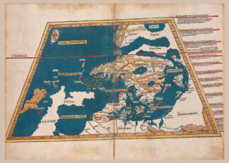 Poster showing the first map of Scandinavia