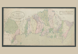 Poster showing map of Swedish province  Blekinge with forest and land, creeks, streams, lakes, cities, churches and villages, bridges, ports and shipping routes. The original of the map was made in 1797.