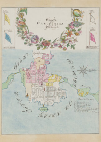 Poster showing the Swedish city Karlskrona 1700s.