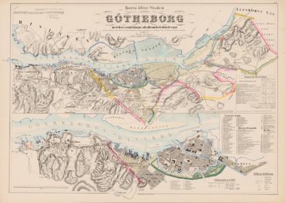 Poster showing Swedish city Gothenburg 1855