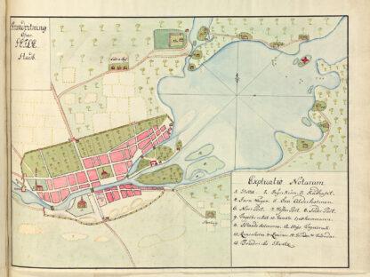 Poster showing Swedish city Gavle 1700s