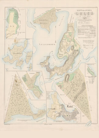 Poster showing Swedish city Luleå 1857