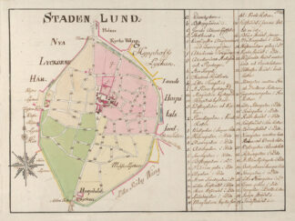Poster showing Swedish city Lund 1700s