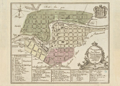 Poster showing Swedish city Norrköping 1769