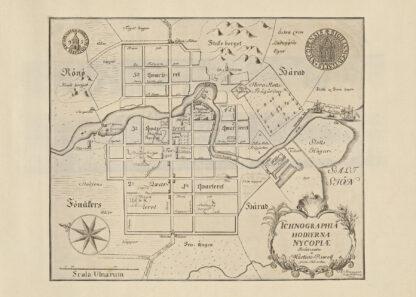 Poster showing Swedish city Nykoping 1735