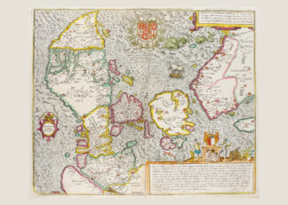 Printed poster over Denmark and southern Sweden. The original was published around 1588 by Georg Braun and Franz Hogenberg.