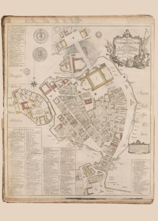 Poster showing Swedish city Stockholm 1771