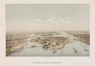 Poster with bird's eye view of Stockholm seen from Lake Mälaren. Developed by the illustrator and lithographer Otto August Mankell (1838-1885).
