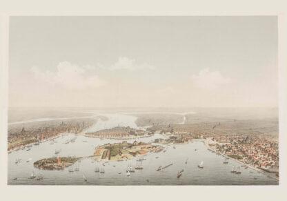 Stockholm birdseye panorama 1872-73