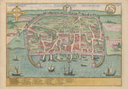 Printed poster of Visby from the 1590s