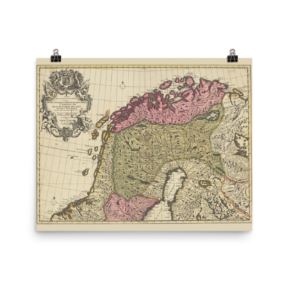 Poster showing northern Sweden and Norway 1708