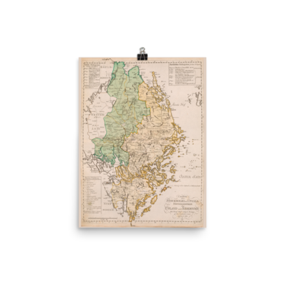 Poster showing the Swedish province Uppland 1785