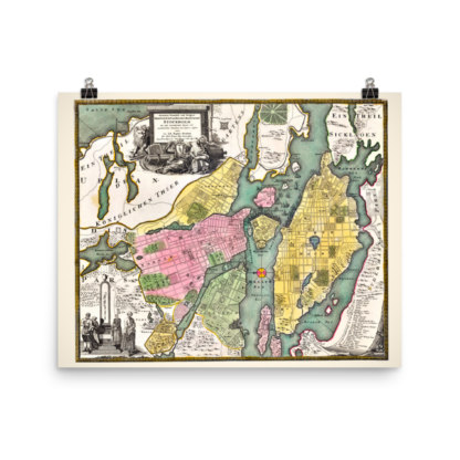 Printed poster with map of Stockholm from about 1700 to 1724. Made by Johann Baptist Homann (1664-1724).