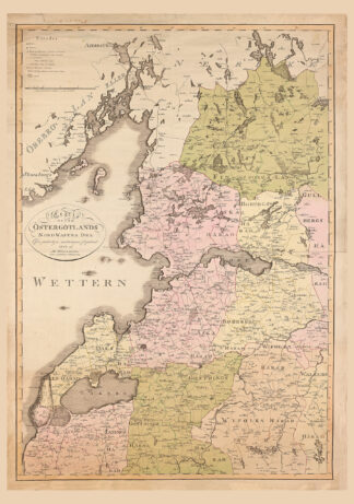 Printed poster showing north west of the province Östergötland. The original map was made in 1805.